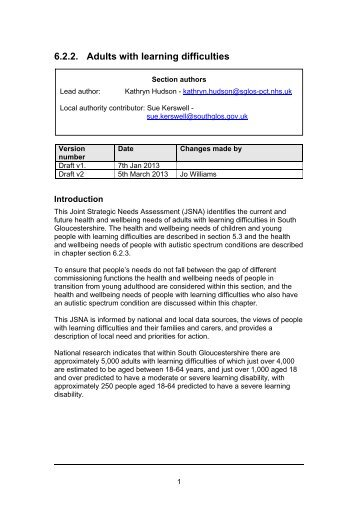 6.2.2. Adults with learning difficulties - South Gloucestershire Council
