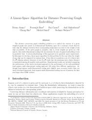 A Linear-Space Algorithm for Distance Preserving Graph Embedding
