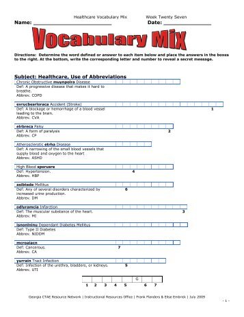 Vocabulary Mix Medic.. - Georgia CTAE