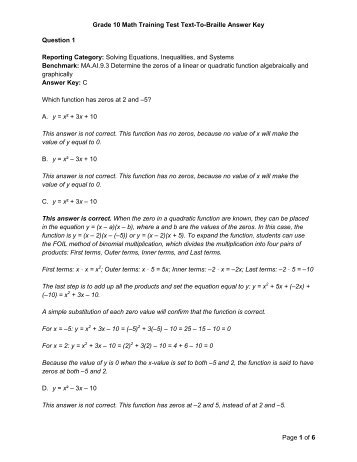 math worksheet : grade 6 reading training test answer key page 1 of ...