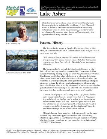 Asher Lake Narrative - Seminole.WaterAtlas.org - University of ...