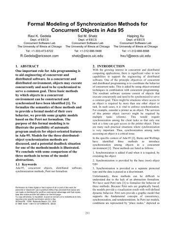 Formal Modeling of Synchronization Methods for ... - SIGAda