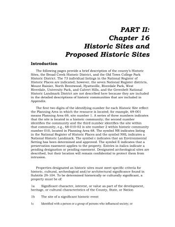 PART II: Chapter 16 Historic Sites and Proposed Historic Sites