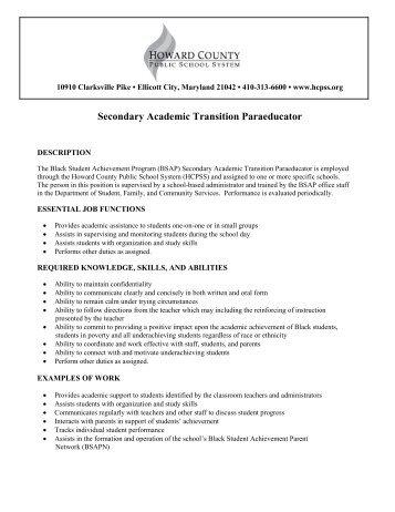 Secondary Academic Transition Paraeducator