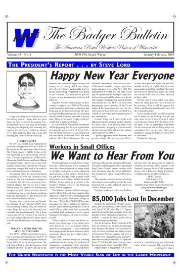 January/February - American Postal Workers Union of Wisconsin ...
