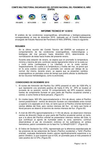 Informe Técnico ENFEN Nº12-2010 - Imarpe