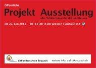 Projekt Ausstellung - Sekundarschule Seuzach