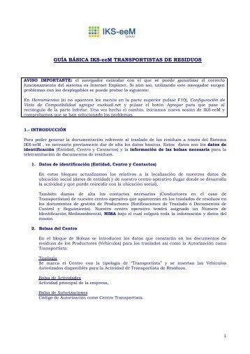 Guía básica para Transportistas de Residuos - EPER-Euskadi
