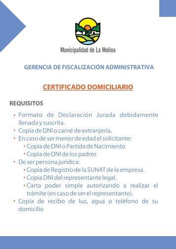 19 - CERTIFICADO DOMICILIARIO.pdf - Municipalidad de La Molina