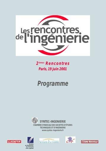 Programme Rencontres 2001.pdf - Syntec ingenierie