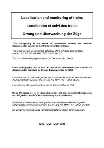 Ortung und Überwachung der Züge - UIC