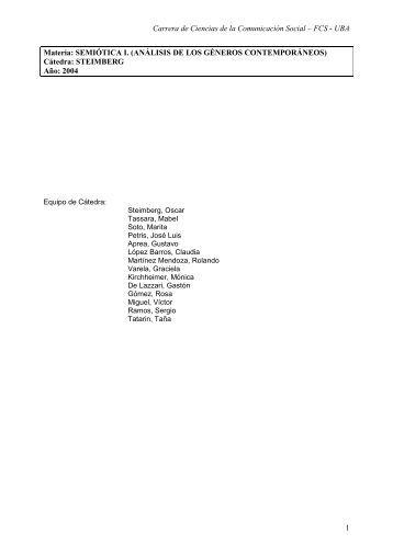 Semiótica I - Steimberg - 2004 - Carrera de Ciencias de la ...