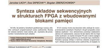 Synteza układów sekwencyjnych w strukturach FPGA z ...