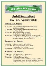 Jubiläumsfest 26.–28. August 2011 Freitag, 26. August - TSV Giesen