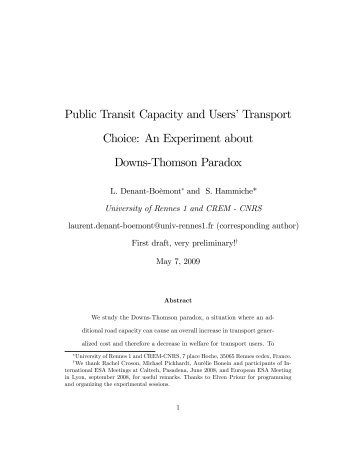 An Experiment about Downs*Thomson Paradox