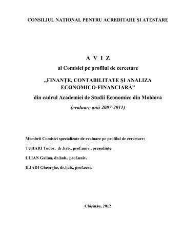 Aviz privind evaluarea Academiei de Studii Economice a Moldovei ...