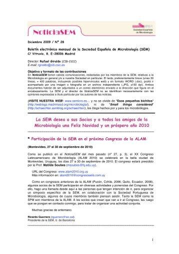 Nº 28 - Diciembre 2009 - Sociedad Española de Microbiología