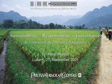 Sustainability – Responsibility – Governance Sustainability ...