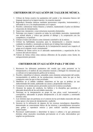 CRITERIOS DE EVALUACIÓN DE TALLER DE ... - IES Las Musas