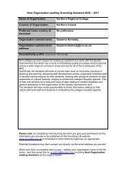 Host Organisation seeking Grundtvig Assistant 2010 – 2011 Name ...