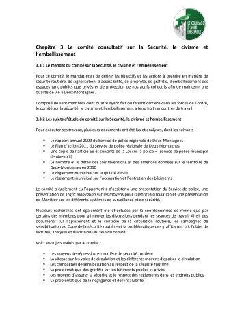 Chapitre 3 Le comité consultatif sur la Sécurité, le civisme et l ...