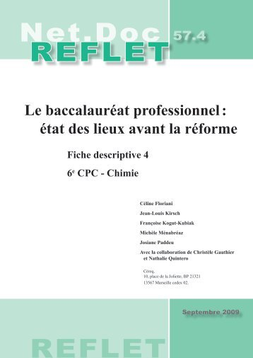 Le baccalauréat professionnel : état des lieux avant la réforme - Cereq