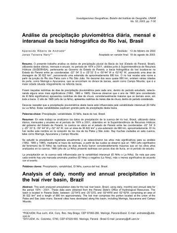 Análise da precipitação pluviométrica diária, mensal e interanual da ...