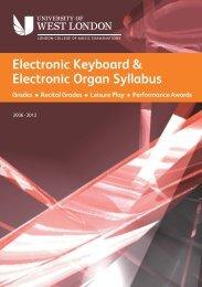 electronic keyboard/organ grades - University of West London