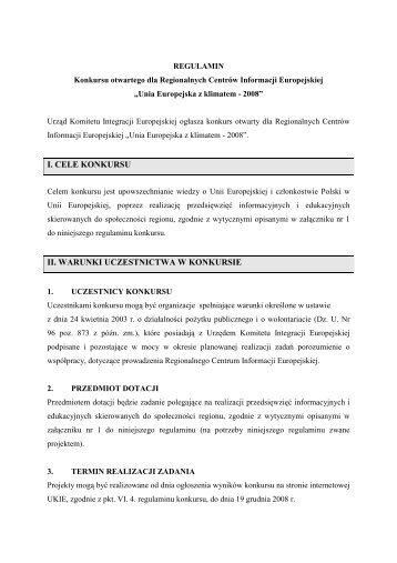 regulamin konkursu - Urząd Komitetu Integracji Europejskiej