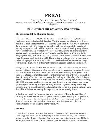 ANALYSIS OF THE THOMPSON v. HUD - Poverty & Race Research ...