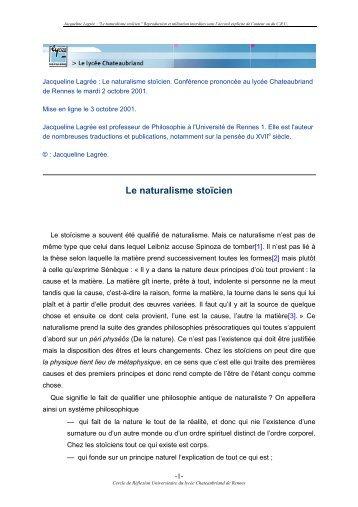 Le naturalisme stoïcien - Lycée Chateaubriand