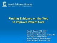 Finding Evidence on the Web to Improve Patient Care - University of ...