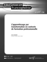 L'apprentissage par transformation en contexte de formation ...