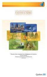 Les plus récentes données sur le tourisme au ... - Tourisme Québec