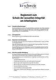 Reglement Sexuelle Belästigung - KV Schweiz