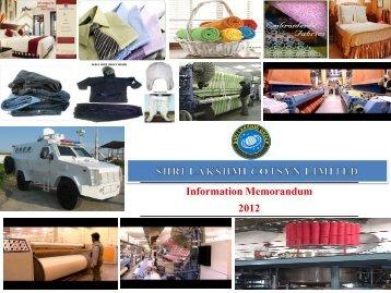 Corporate Presentation - Shri Lakshmi Cotysn, Ltd