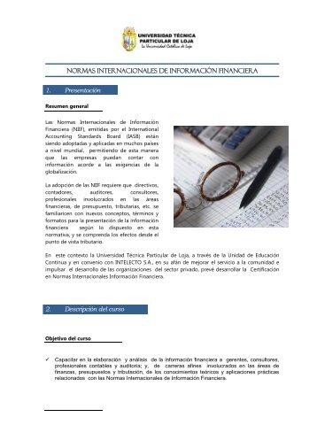 NORMAS INTERNACIONALES DE INFORMACIÓN FINANCIERA 1 ...