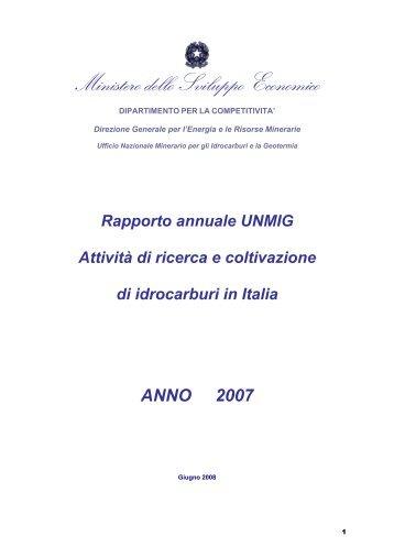 Rapporto annuale 2007 - Unmig - Ministero dello Sviluppo Economico