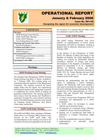 Monthly report southern african power pool operational report southern african power pool sciox Images