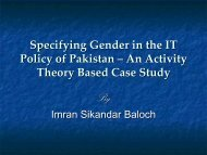 Specifying Gender in the IT Policy of Pakistan – An Activity Theory ...