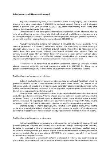 Právní aspekty použití kamerových systémů - kamery airlive airlivecam