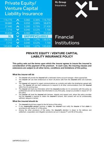 private equity / venture capital liability insurance policy - XL Group