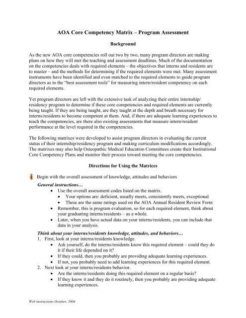 Core Competency Matrix Program Assessment Instructions