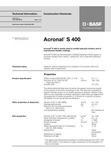 Acronal S 400 - Basf