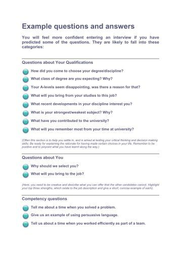 university interview questions and answers pdf