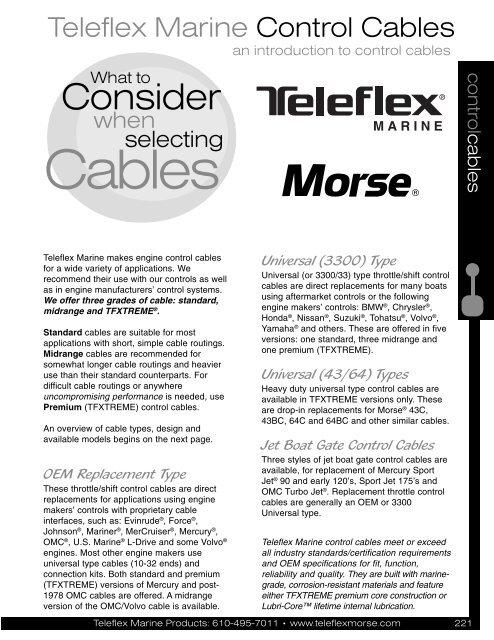 New Teleflex Control Cable CC172 15/'
