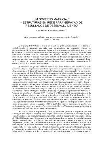UM GOVERNO MATRICIAL – ESTRUTURAS ... - Empreende.org.br