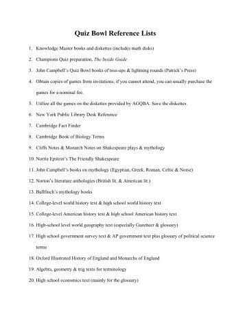 Quiz bowl college essay