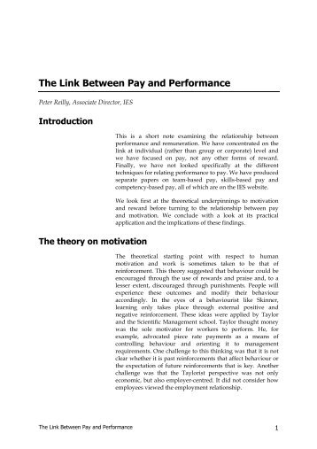 The link between pay and performance - The Institute for ...