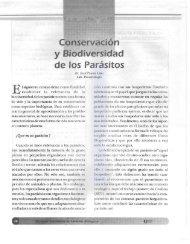 Conservación y Biodiversidad de los parásitos - Publicaciones